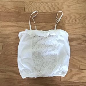 NWOT Abercrombie A&F White Ruffle Lace Cami Tank